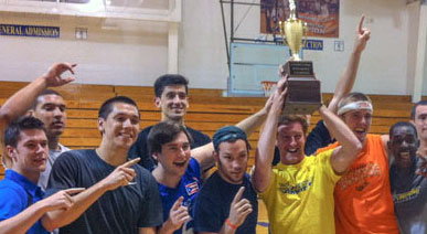 students with intramural trophy