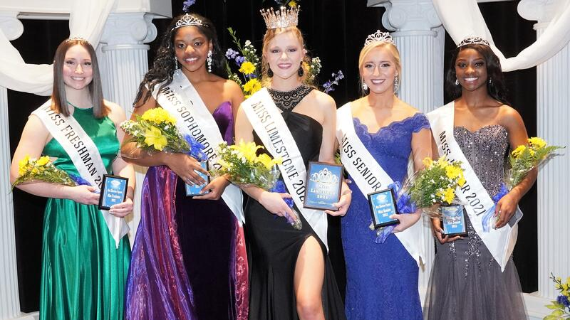 Left to right: Paige Saxey (Miss Freshman), Rothani Allen (Miss Sophomore), Casey Quinn (Miss Limestone University), Maren Lawrence (Miss Senior), and Ki'Shana Craig (Miss Junior).