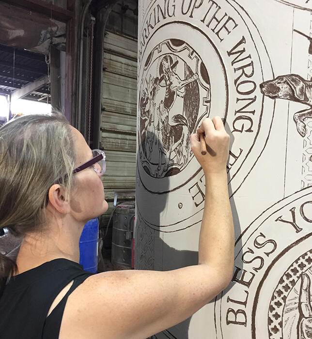 "Professor Carolyn Ford Carves 2-Ton ""Southernism"" Art Piece In Arizona"